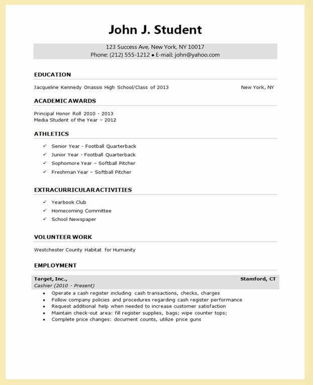 College App Resume Template New College Application Report Writing form