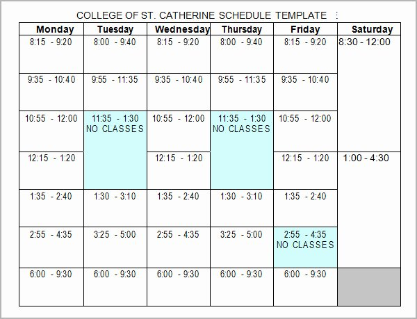 College Class Schedule Template Elegant 6 Sample College Schedule Templates