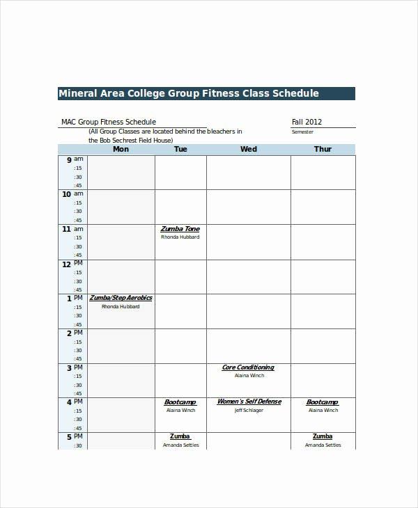 College Class Schedule Template Elegant Excel Class Schedule Templates 8 Free Word Excel Pdf