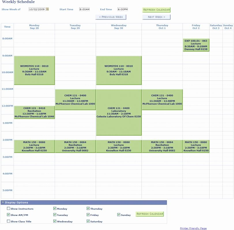 College Class Schedule Template Lovely College Class Schedule Template