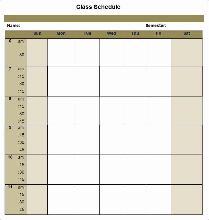 College Class Schedule Template New College Schedule Templates – 12 Free Word Excel Pdf