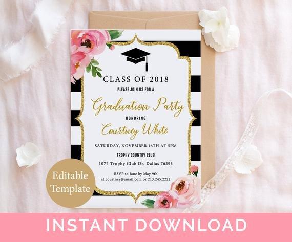 College Graduation Invitation Template Best Of Floral Graduation Party Invitation Template Kate Grad