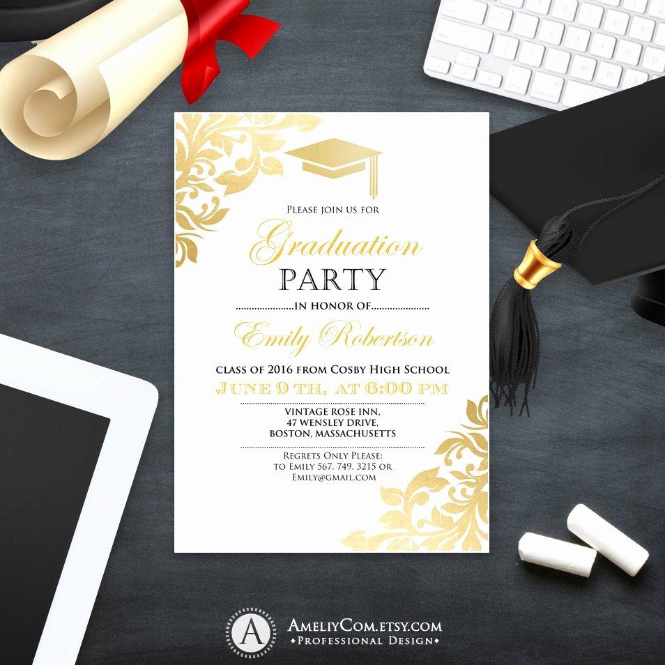 College Graduation Invitation Template New Graduation Party Invitation Template Printable Gold Foul Girl