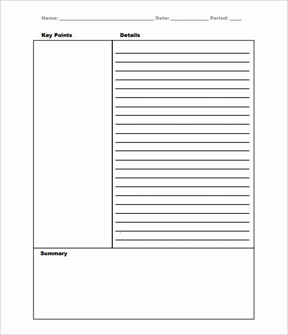 College Note Taking Template Beautiful Cornell Notes Template 51 Free Word Pdf format
