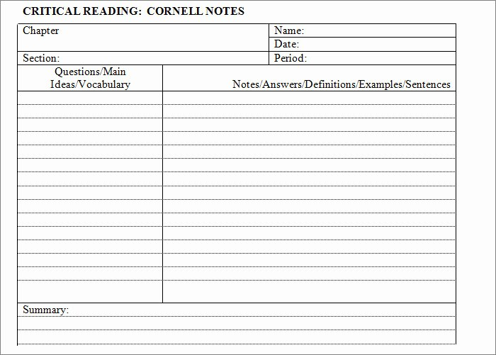 College Note Taking Template Inspirational Cornell Notes Template 51 Free Word Pdf format