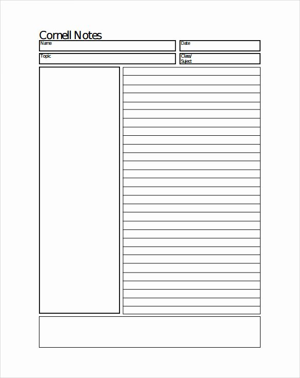 College Note Taking Template Inspirational Sample Cornell Notes Paper Template 7 Free Documents In