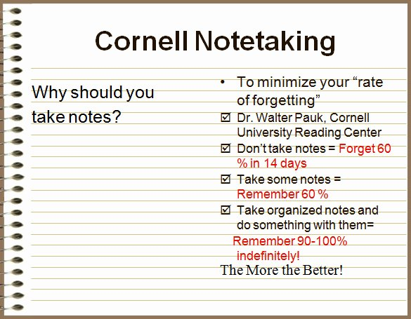 College Note Taking Template New Cornell Notes Template 51 Free Word Pdf format