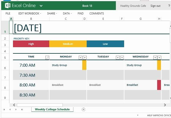 College School Schedule Template Awesome How to Easily Create Class Schedules Using Excel