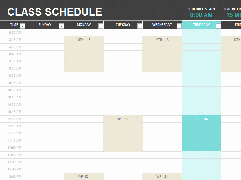 College School Schedule Template Awesome Student Schedule Templates College