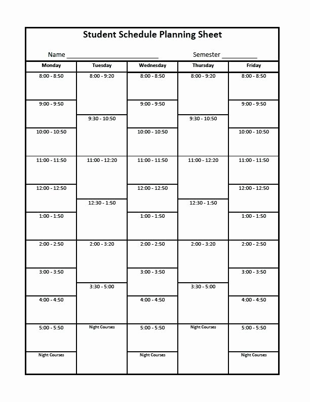 College School Schedule Template Best Of Blank Revision Timetable Template Free College Essay
