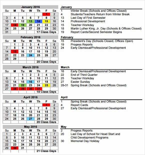 College School Schedule Template Best Of School Calendar 7 Free Samples Examples format