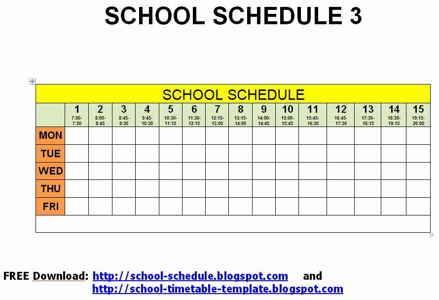College School Schedule Template Elegant 5 Best Of Free Printable School Class Schedule