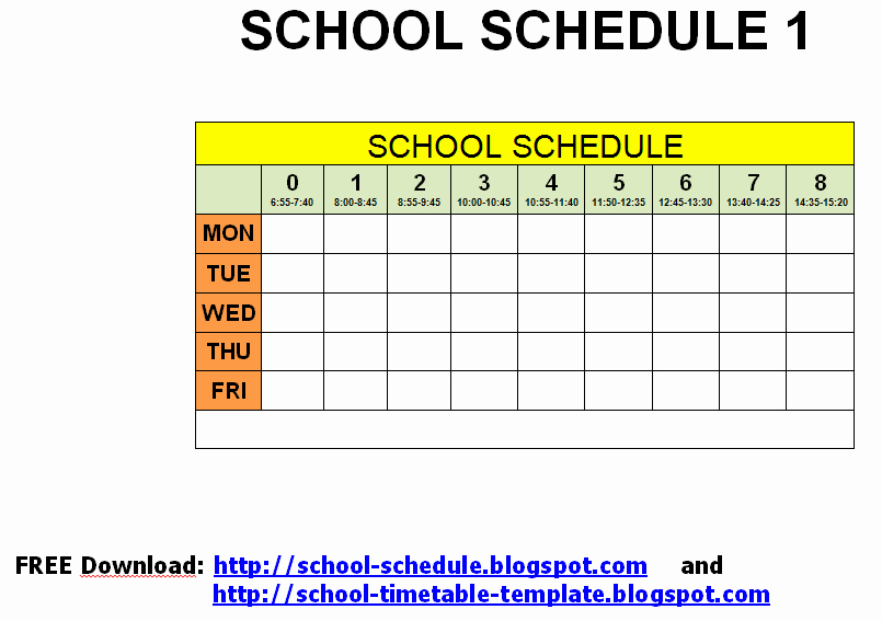 College School Schedule Template Inspirational Schedule for School Printable Template September 2012