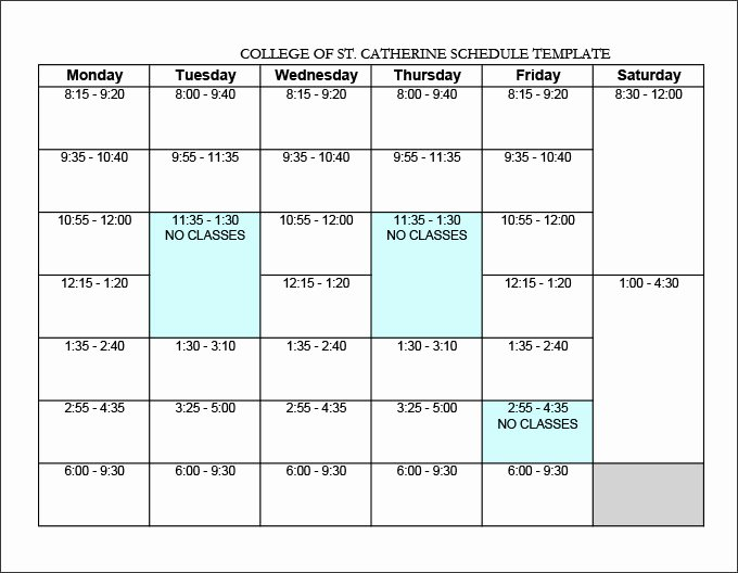 College School Schedule Template Lovely College Schedule Templates – 12 Free Word Excel Pdf
