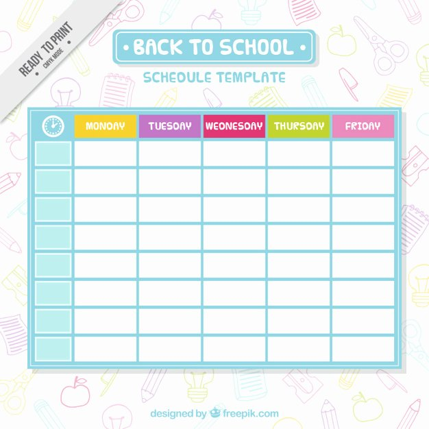 College School Schedule Template New Simple School Schedule Template Vector