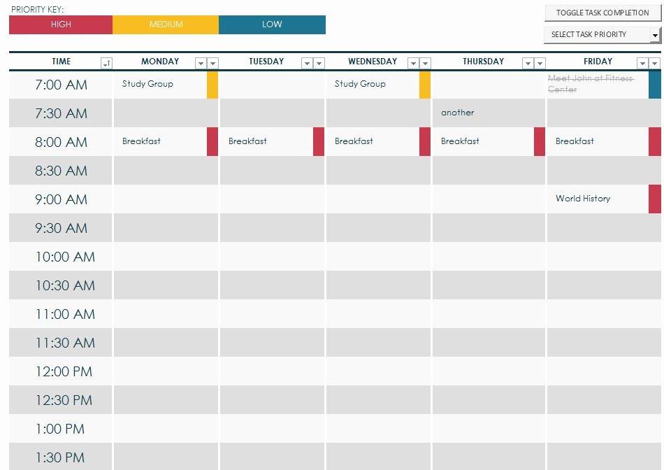 College School Schedule Template Unique 7 Best Of Printable Class Schedule Maker Class