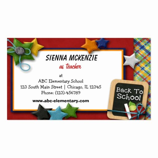 College Student Business Card Template Beautiful Teacher Elementary School Double Sided Standard Business