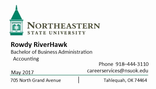 College Student Business Card Template Unique Career Services
