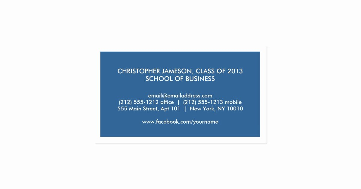 College Student Business Card Template Unique Modern Blue Business Card for College Students