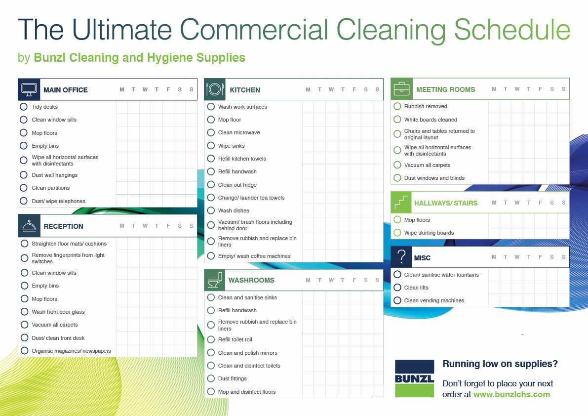 Commercial Cleaning Checklist Template Elegant Mercial Cleaning Schedule Template Bunzl Cleaning