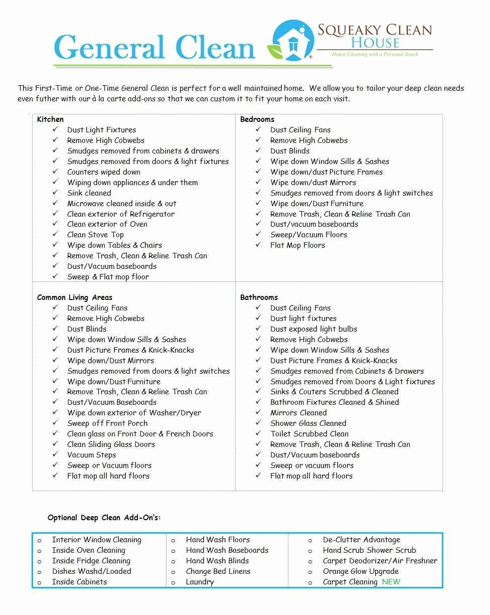 Commercial Cleaning Checklist Template Inspirational Lovely Mercial Cleaning Services Price List Template