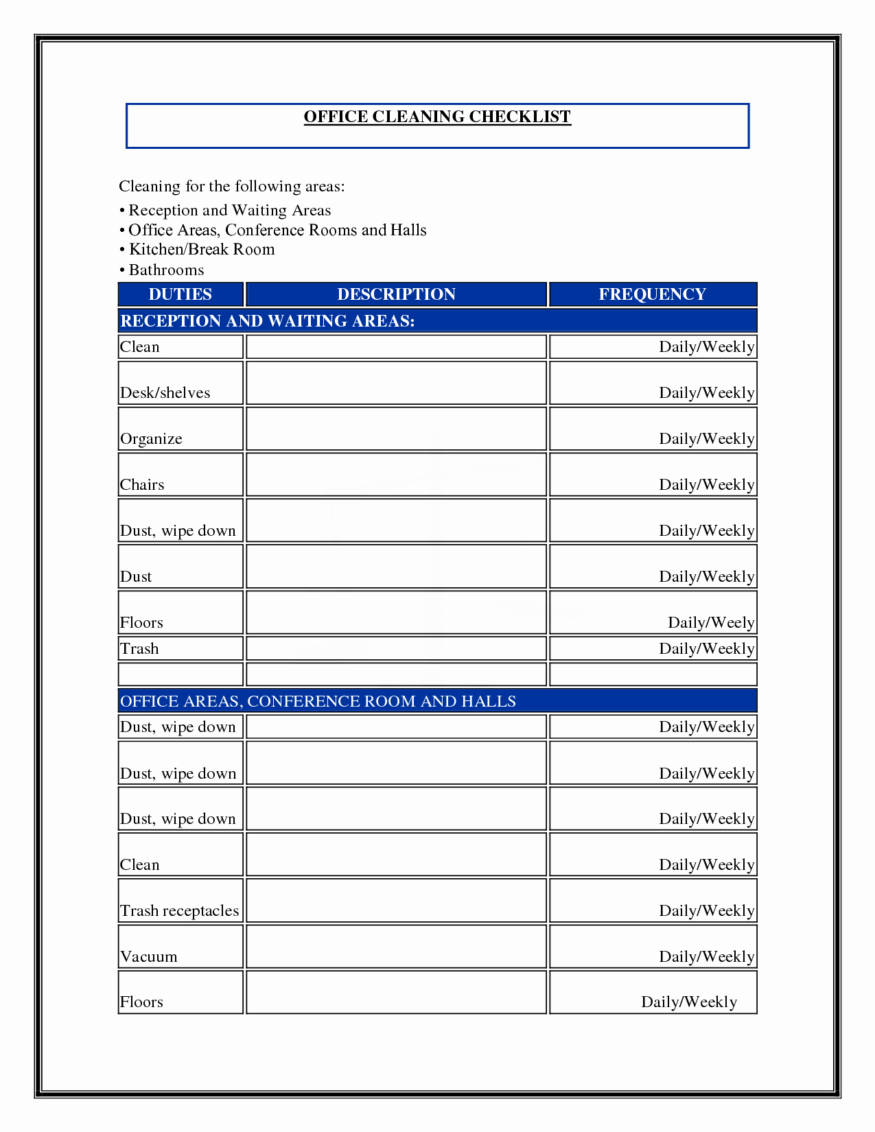Commercial Cleaning Checklist Template Unique 7 Best Of Mercial Cleaning Checklist Printable