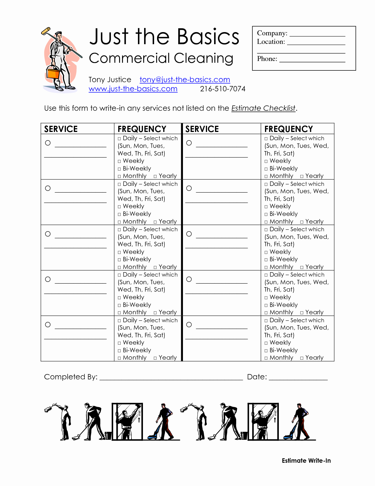 Commercial Cleaning Estimate Template Best Of Mercial Cleaning Checklist Printable