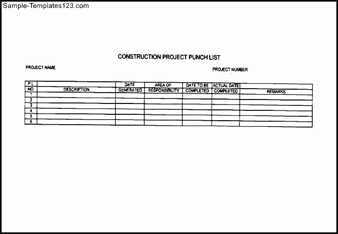 Commercial Construction Punch List Template Luxury Free Mercial Construction Punch List Template Sample
