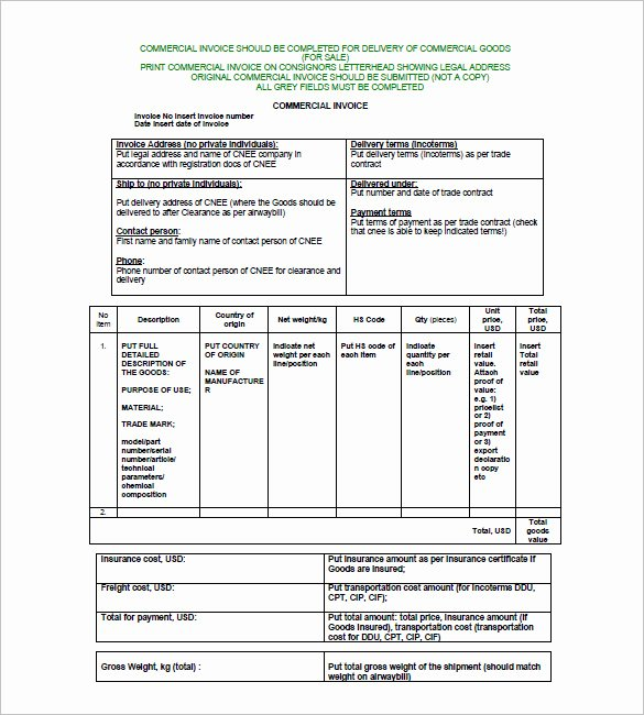 Commercial Invoice Template Excel Beautiful 30 Mercial Invoice Templates Word Excel Pdf Ai