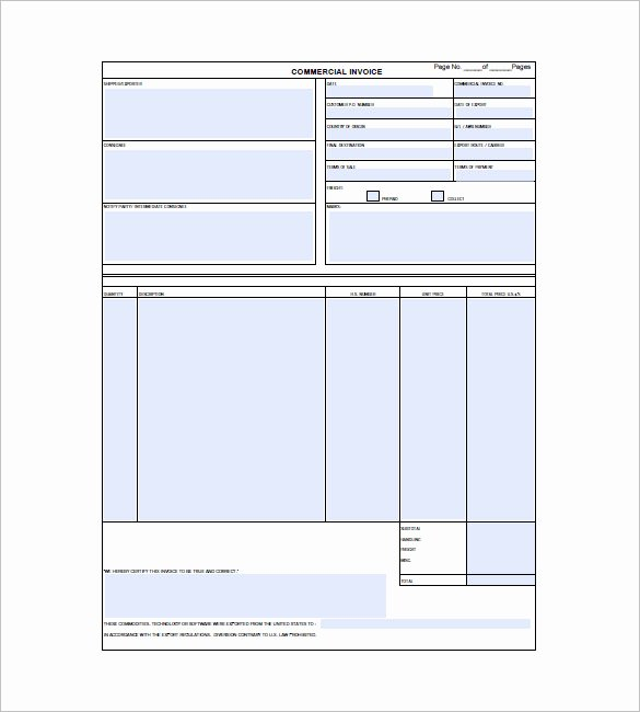 Commercial Invoice Template Excel Fresh 30 Mercial Invoice Templates Word Excel Pdf Ai