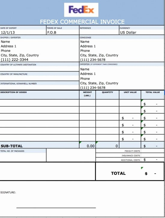 Commercial Invoice Template Excel Fresh Free Fedex Mercial Invoice Template Excel