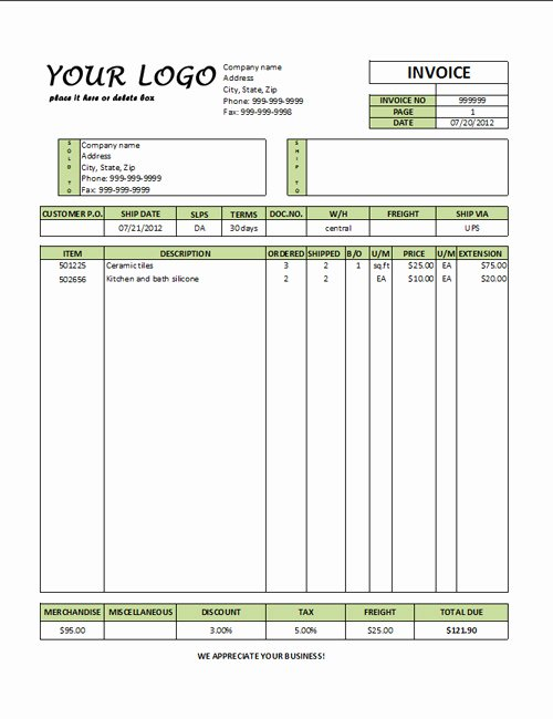 Commercial Invoice Template Excel Inspirational Mercial Invoice Template