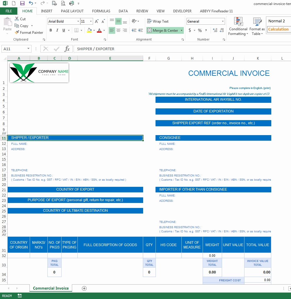Commercial Invoice Template Excel Inspirational Professional Reports Excel Xlsx Xlsm