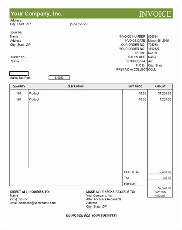 Commercial Invoice Template Excel Lovely 11 Mercial Invoice Templates Download Free Documents