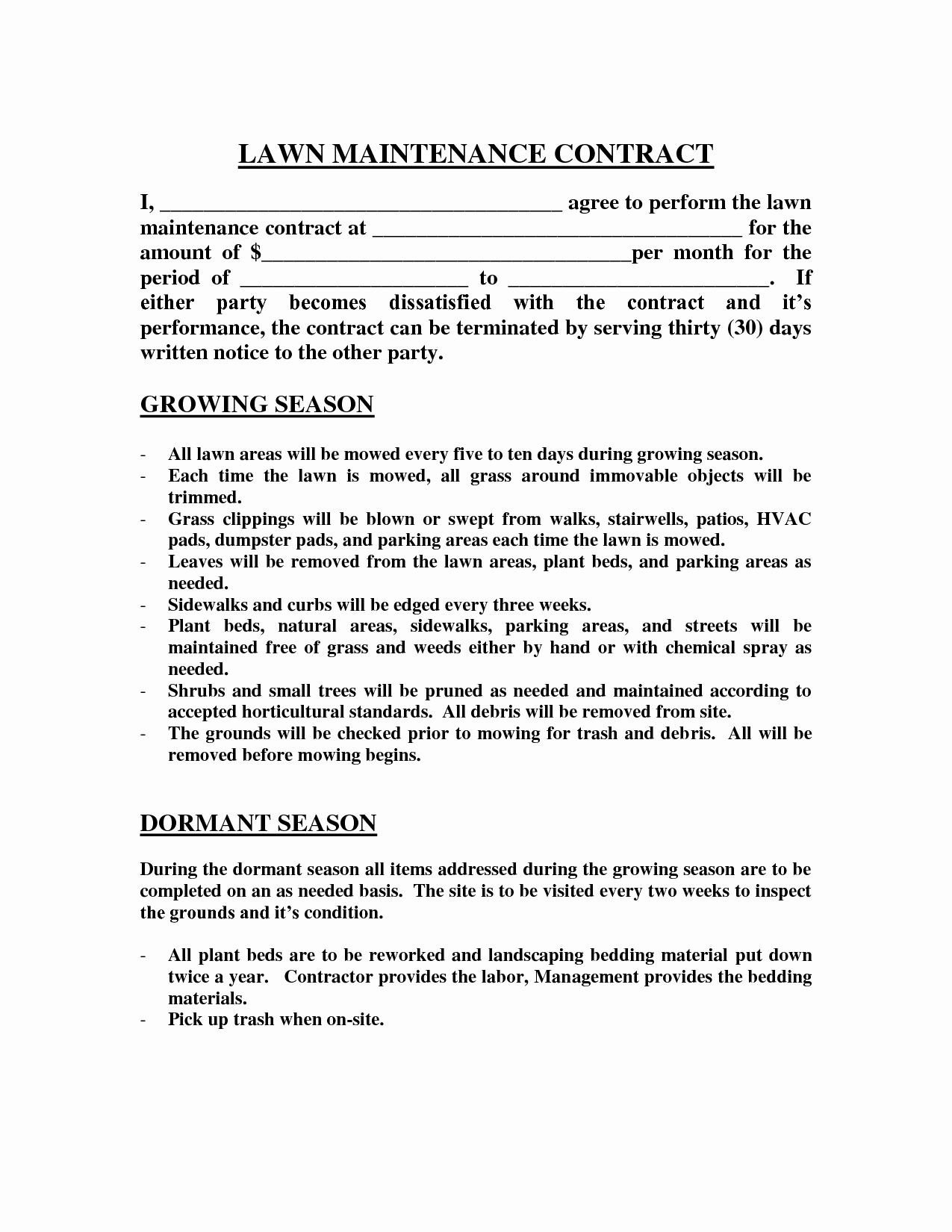 Commercial Lawn Care Bid Template Fresh Contract Lawn Care Contract Template Lawn Care Contract