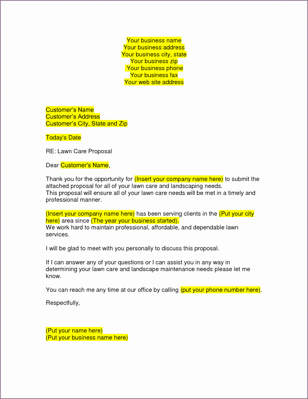 Commercial Lawn Care Bid Template Inspirational Lawn Care Proposal