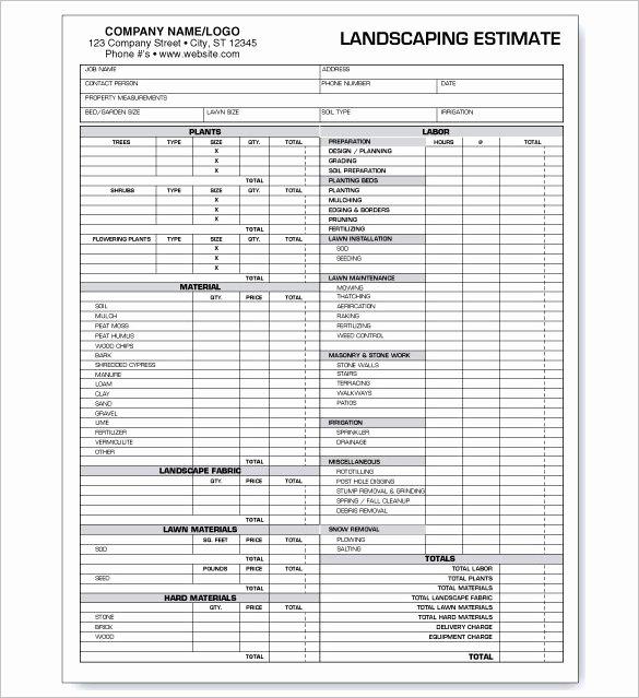 Commercial Lawn Care Bid Template Unique 10 Landscaping Estimate Templates Doc Pdf Excel