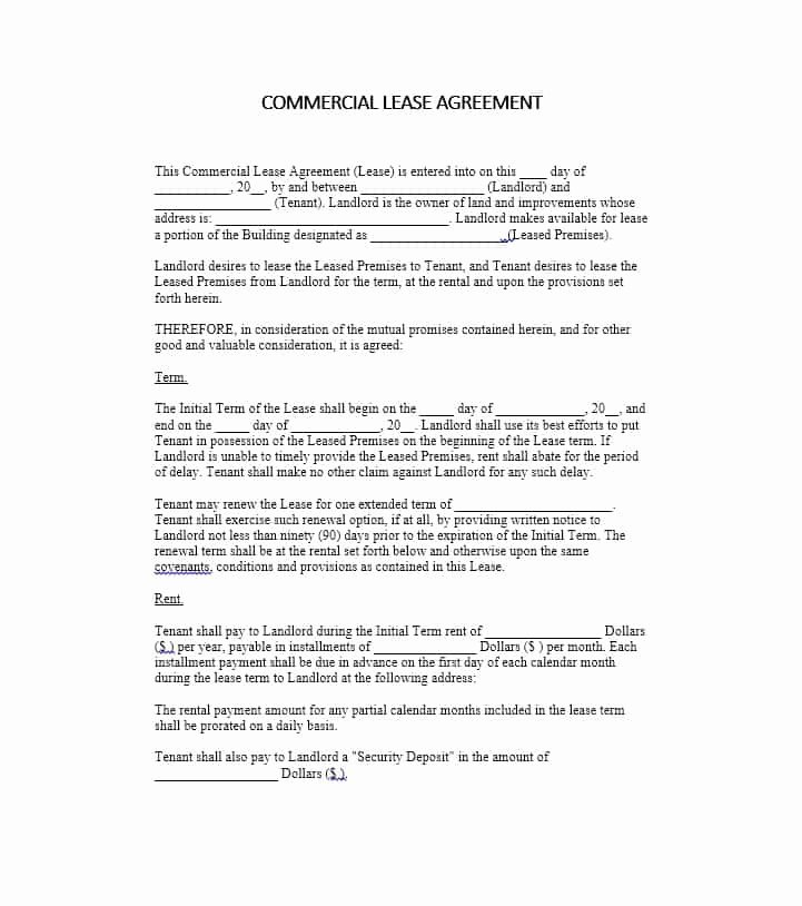 Commercial Lease Agreement Template Free Awesome 26 Free Mercial Lease Agreement Templates Template Lab