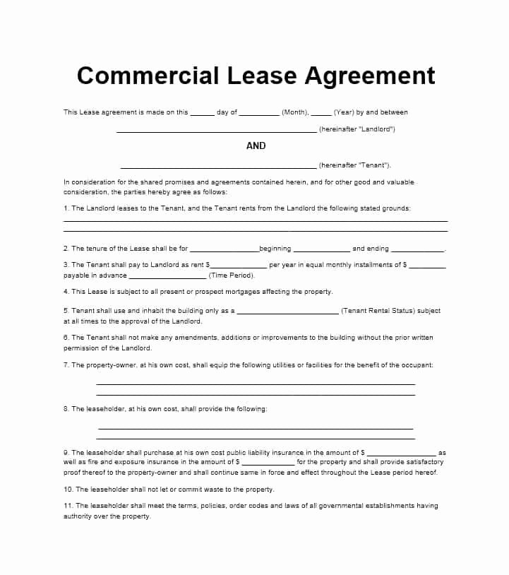 Commercial Lease Agreement Template Free Beautiful 26 Free Mercial Lease Agreement Templates Template Lab