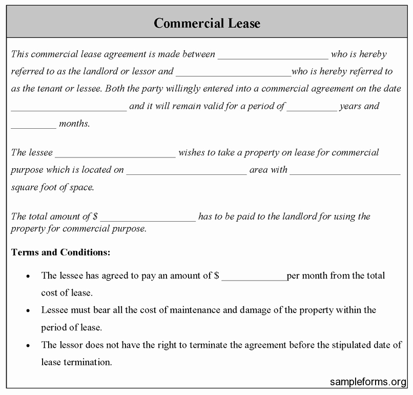 Commercial Lease Agreement Template Free Beautiful Mercial Lease form Sample Mercial Lease form