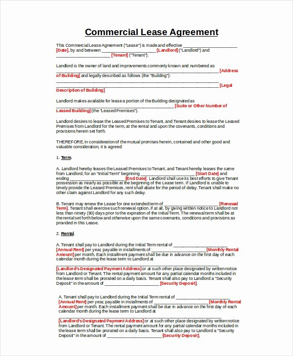 Commercial Lease Agreement Template Free Best Of Mercial Lease Agreement 10 Free Pdf Word Documents