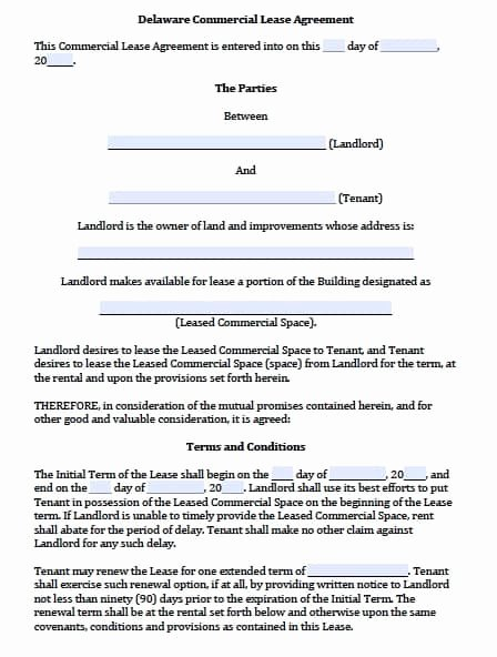 Commercial Lease Agreement Template Free Elegant Free Delaware Mercial Lease Agreement Template – Pdf – Word