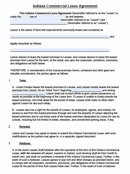 Commercial Lease Agreement Template Free Elegant Free Indiana Mercial Lease Agreement Template – Pdf – Word
