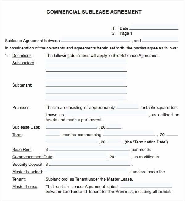 Commercial Lease Agreement Template Free Fresh 6 Free Mercial Lease Agreement Templates Excel Pdf