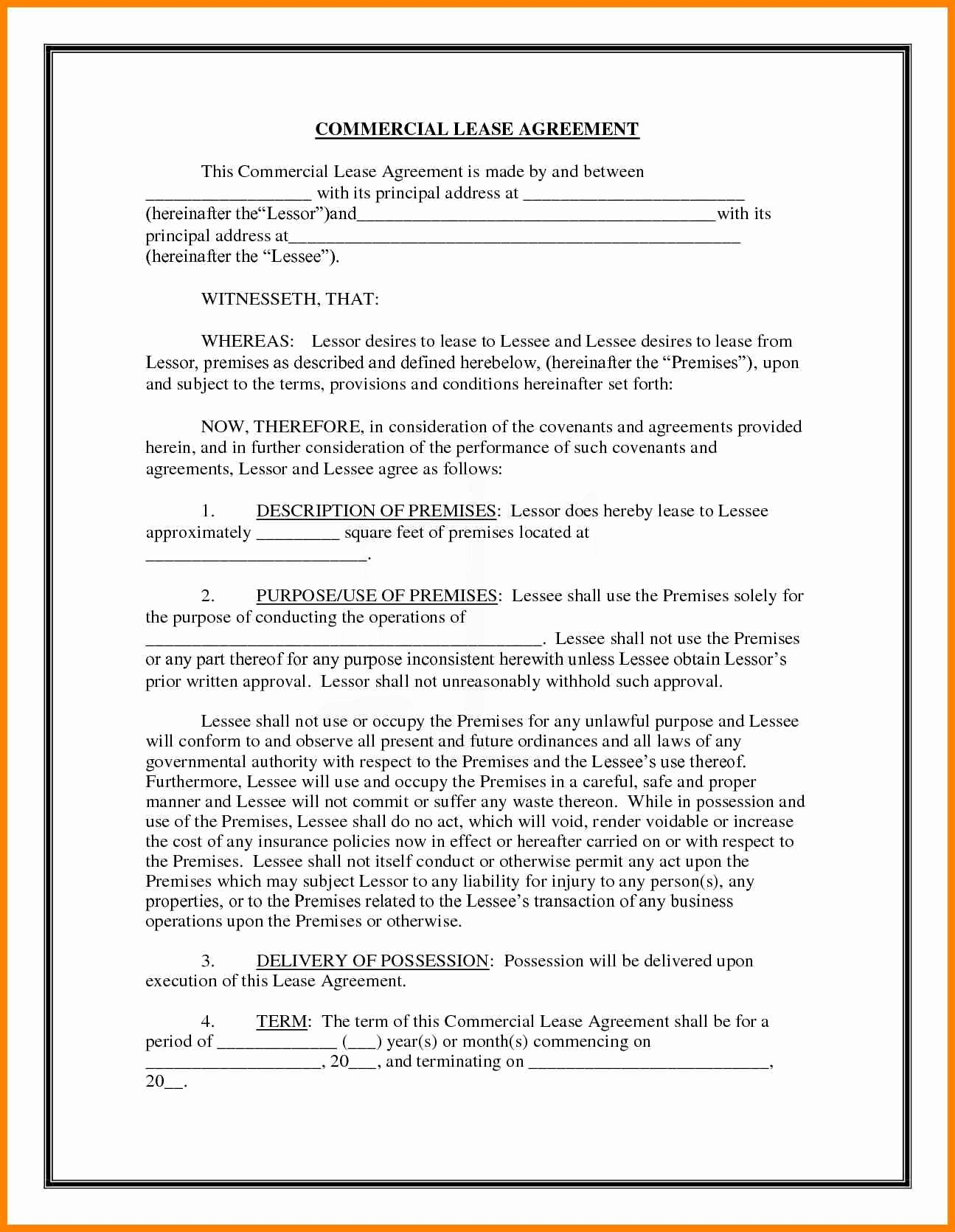 Commercial Lease Agreement Template Free Fresh Mercial Lease Agreement Template Free