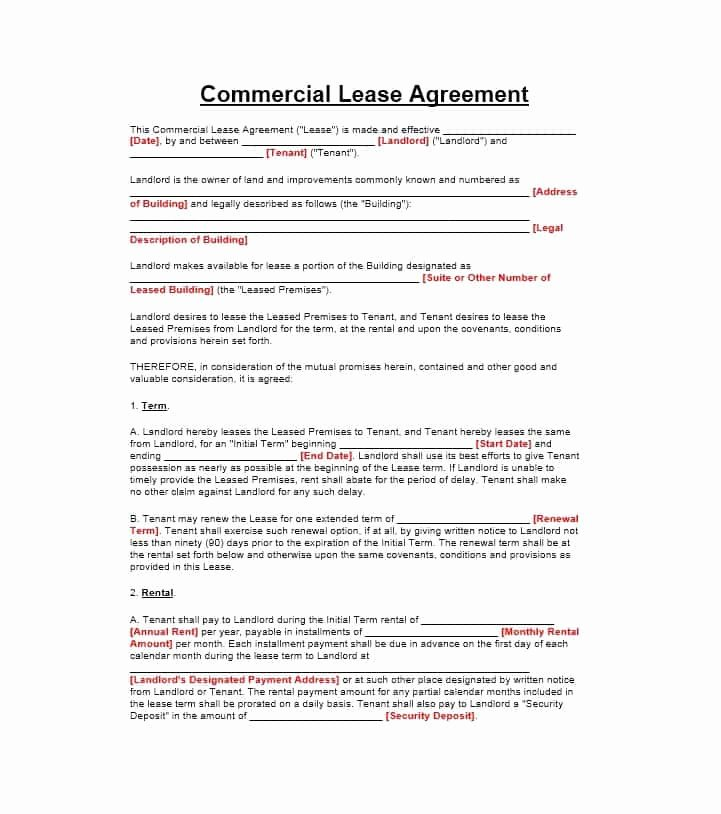 Commercial Lease Agreement Template Free Inspirational 26 Free Mercial Lease Agreement Templates Template Lab