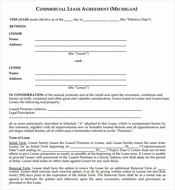 Commercial Lease Agreement Template Free Inspirational Mercial Lease Agreement 9 Free Samples Examples