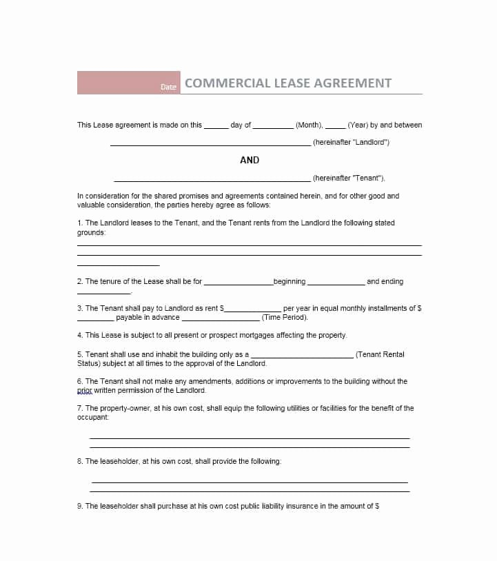 Commercial Lease Agreement Template Free Lovely 26 Free Mercial Lease Agreement Templates Template Lab