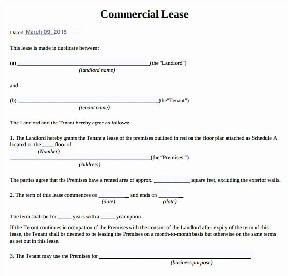 Commercial Lease Agreement Template Free Lovely Mercial Real Estate Lease Template