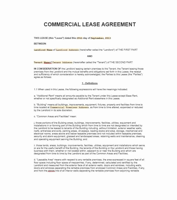 Commercial Lease Agreement Template Free Luxury 26 Free Mercial Lease Agreement Templates Template Lab